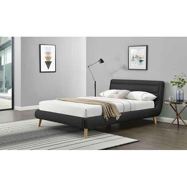 Čalouněná postel Eliot 160x200cm, tmavě šedá HELCEL
