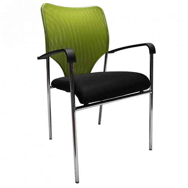 Konferenční židle síťovina / plast / kov Kondela Černá / zelená - 54 cm