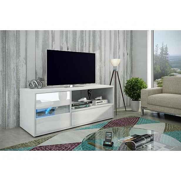 TV stolek Global 1 bez osvětlení, bílá-bílý lesk