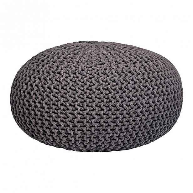 Tmavě šedý pletený puf,⌀70cm