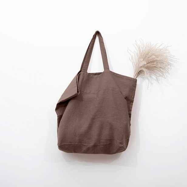 Hnědá lněná nákupní taška Linen Tales