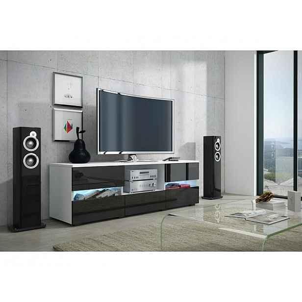TV stolek Global 2 bez osvětlení, bílá-černý lesk