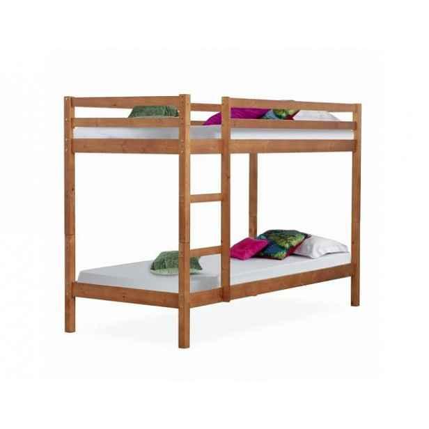 Patrová postel VERSO, borovicové dřevo světlehnědá