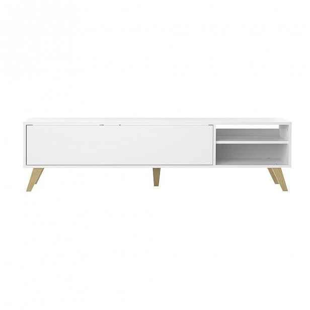 Bílý TV stolek s vyklápěcími dvířky TemaHome Prism