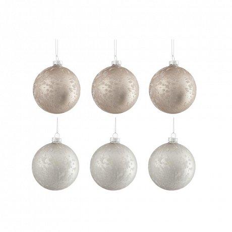 Sada 6 bílo-béžových skleněných vánočních ozdob J-Line Bauble,ø8cm