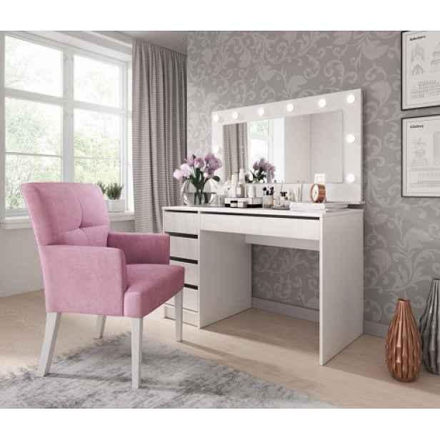 Toaletní stolek a zrcadlo Elke (bílá)