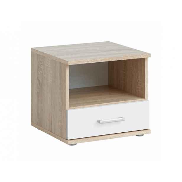 Moderní noční stolek EMIO Typ 05, dub sonoma/bílá