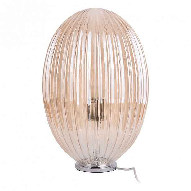 Hnědá skleněná stolní lampa Leitmotiv Smart,ø30cm