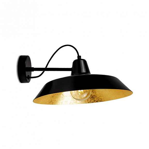 Černé nástěnné svítidlo s detailem ve zlaté barvě Bulb Attack Cinco Basic