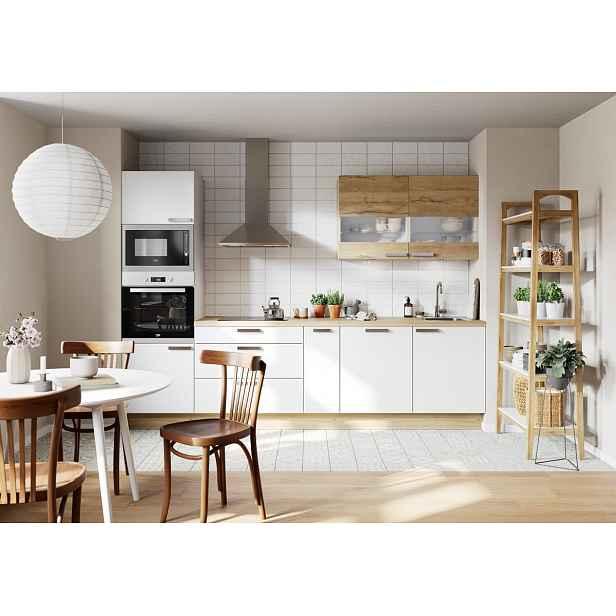 Kuchyňská linka Naturel Easy24 300x60 cm , bílá lesk + dub