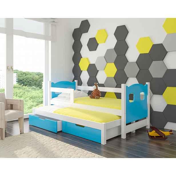 Dětská postel Cotto pro 2 děti, bílá/modrá + matrace ZDARMA! HELCEL