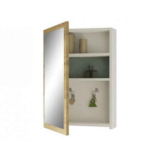Zrcadlo, bílá/ dub wotan, HILO