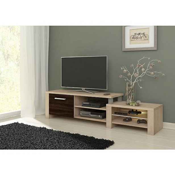 TV stolek Orion teplá bílá (LED 06), dub sonoma-dub sonoma tmavý