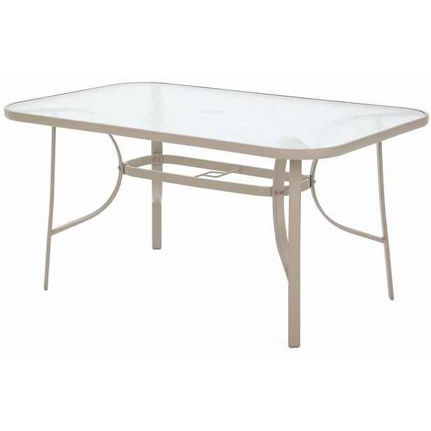 Zahradní jídelní stůl ocel / sklo Cappuccino