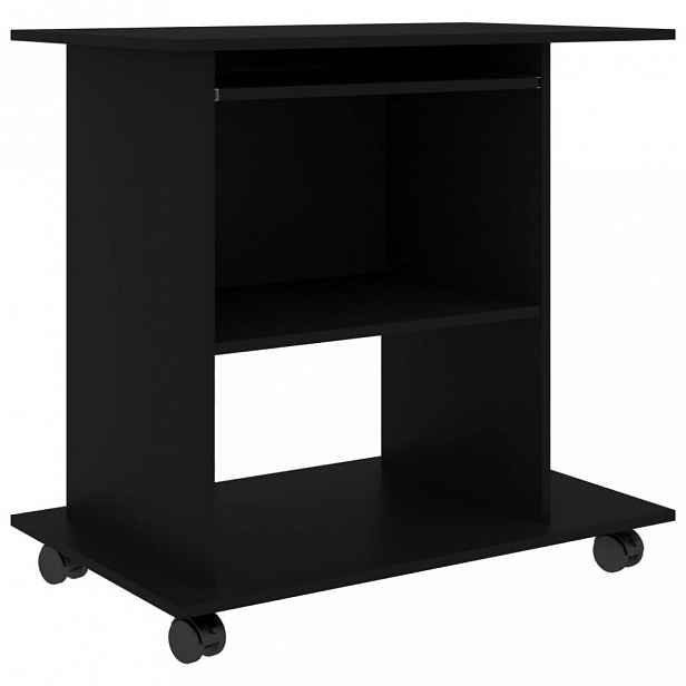 PC stůl na kolečkách 80x50 cm Dekorhome Černá