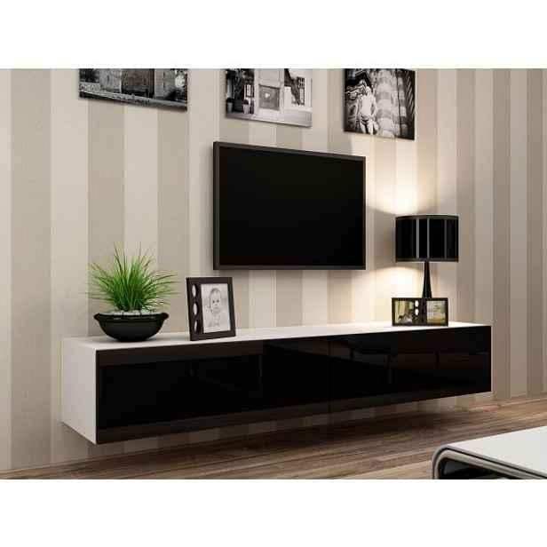 TV skříňka Vigo 180, bílá/černý lesk
