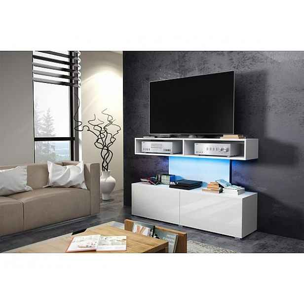 TV stolek Rex modrá (LED 12), bílá-černý lesk