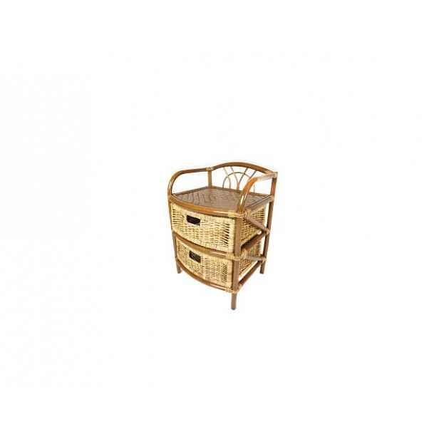 Ratanový prádelník 2 zásuvky, tmavý med