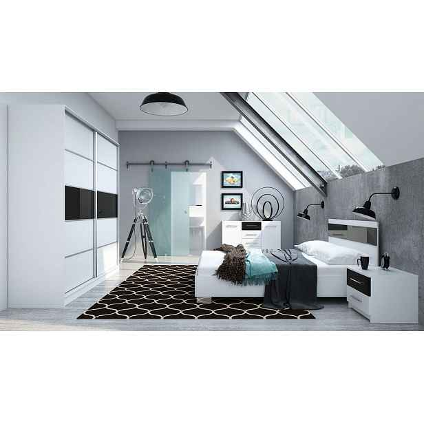 Ložnice DUBAJ, bílá/černé sklo
