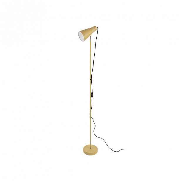 Horčicově žlutá stojací lampa Leitmotiv Mini Cone,výška147,5cm