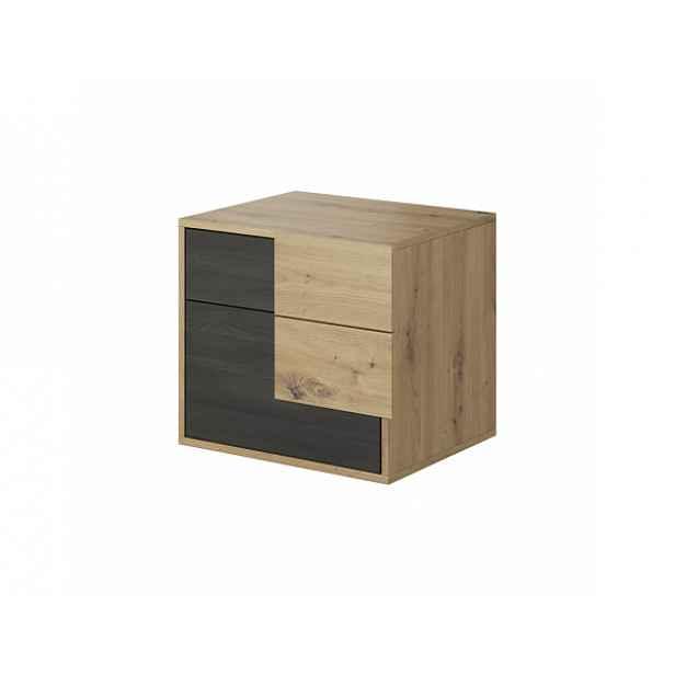 Noční stolek, dub artisan/černá borovice norská, BAFRA