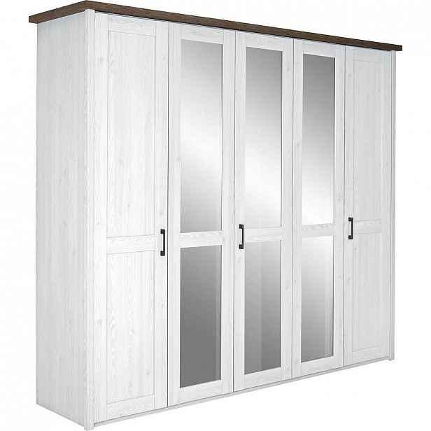Carryhome Skříň Šatní, Bílá, Barvy Lanýžového Dubu - Skříně s otočnými dveřmi - 002522002001