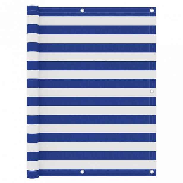 Balkónová zástěna 120 x 300 cm oxfordská látka Bílá / modrá