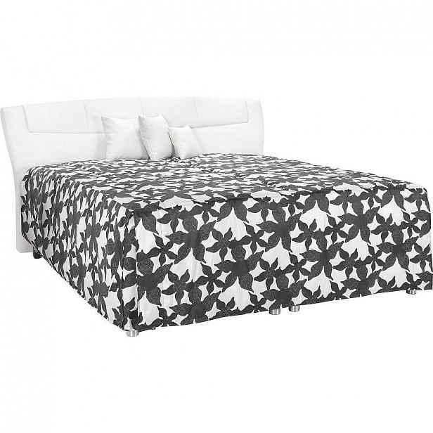 Esposa Čalouněná Postel, 180/200 Cm, Textil, Černá, Bílá - Čalouněné postele - 002638017401