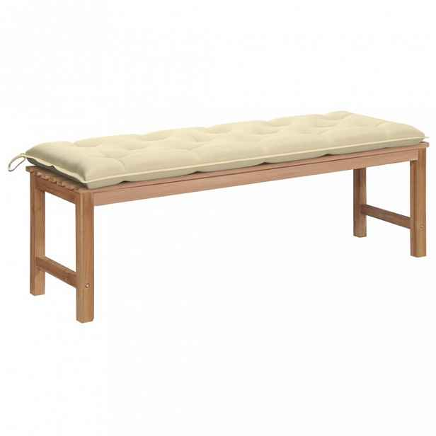Zahradní lavice s poduškou 150 cm Krémová