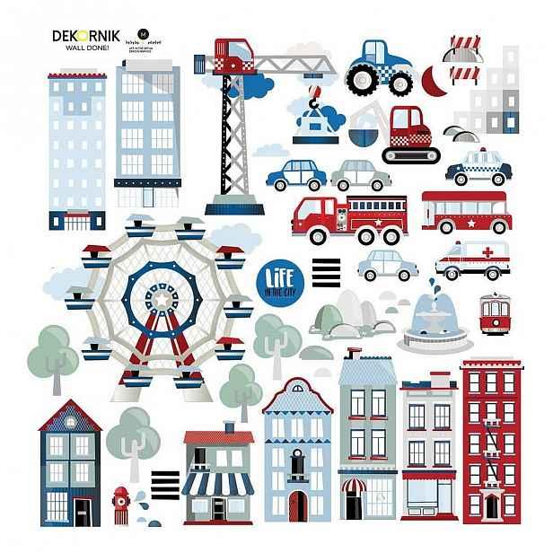 Set nástěnných samolepek Dekornik Life in the City