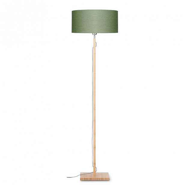 Stojací lampa se zeleným stínidlem a konstrukcí z bambusu Good&Mojo Fuji