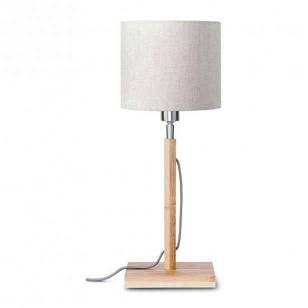 Stolní lampa se světle béžovým stínidlem a konstrukcí z bambusu Good&Mojo Fuji