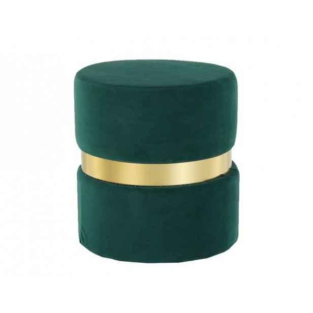 Taburet VIZEL, smaragdová Velvet látka / zlatý nátěr