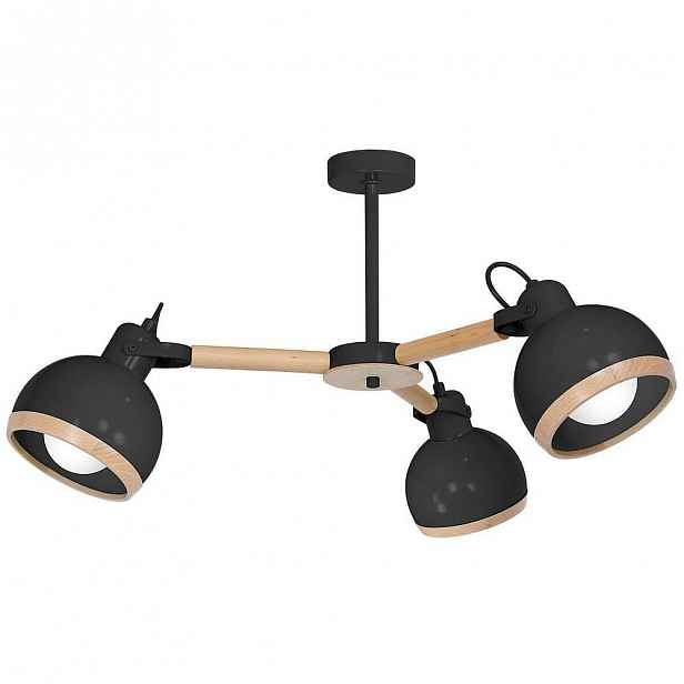 Černý lustr s dřevěnými detaily Oval Tres
