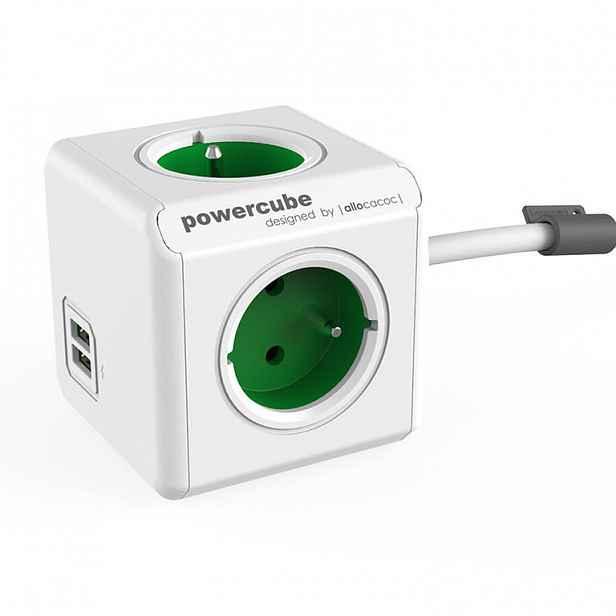 Rozbočovač PowerCube Extended USB zelený