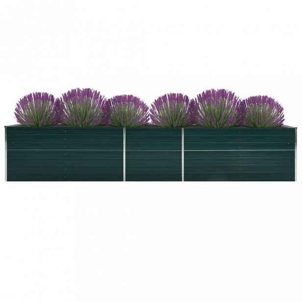 Zahradní truhlík pozinkovaná ocel 400x80x45 cm Dekorhome Zelená