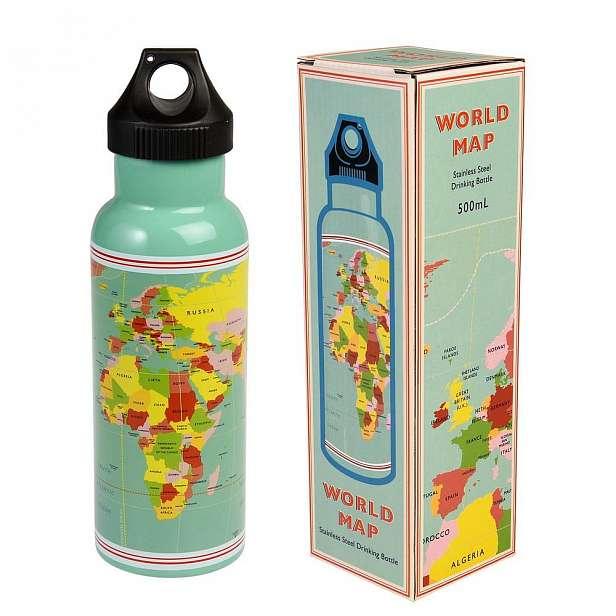 Cestovní láhev z nerezové oceli Rex London World Map