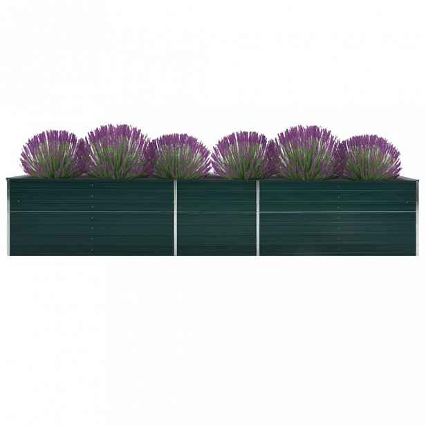 Zahradní truhlík pozinkovaná ocel 400x80x77 cm Dekorhome Zelená
