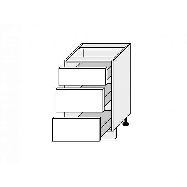 TITANIUM, skříňka dolní D3H 50, korpus: grey, barva: fino černé