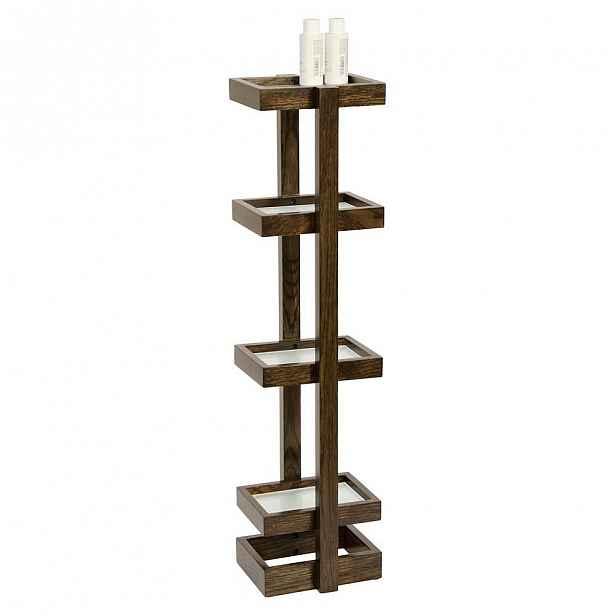 Stojan do koupelny z dubového dřeva Wireworks Caddy Mezza Dark, výška 73cm