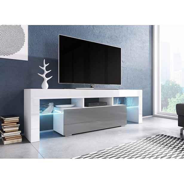 Moderní TV stolek Targa 138cm, bílá/šedý lesk HELCEL
