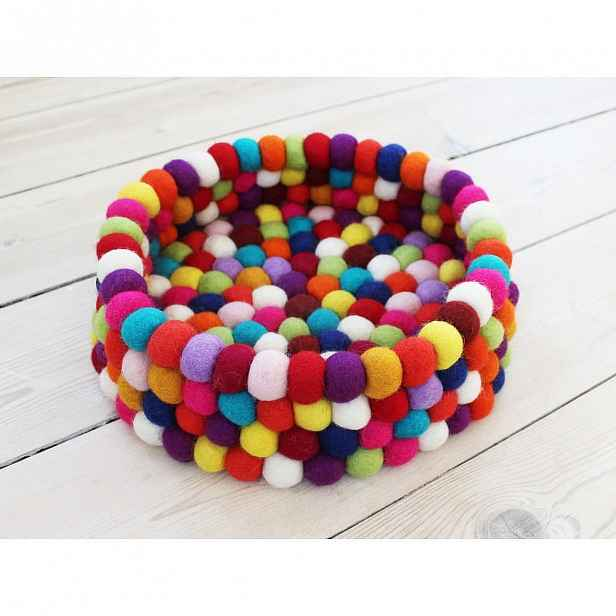Tmavě červený kuličkový vlněný úložný košík Wooldot Ball Basket, ⌀ 28 cm