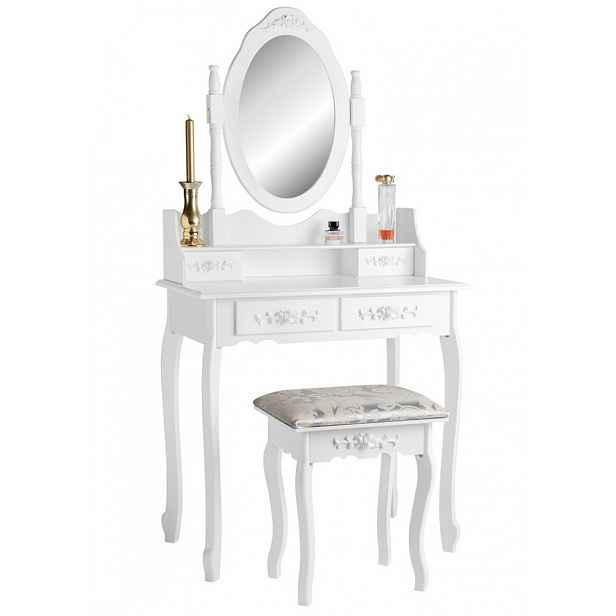 Toaletní stolek s taburetem bílá