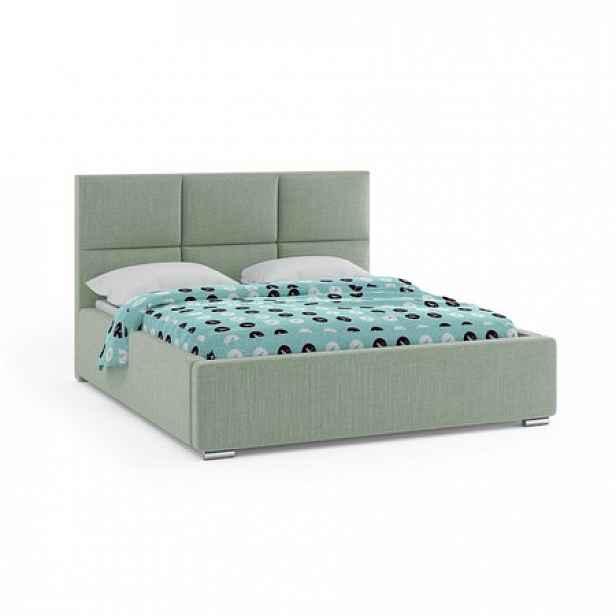 Čalouněná postel NOVATIC 160x200 cm Tmavě zelená