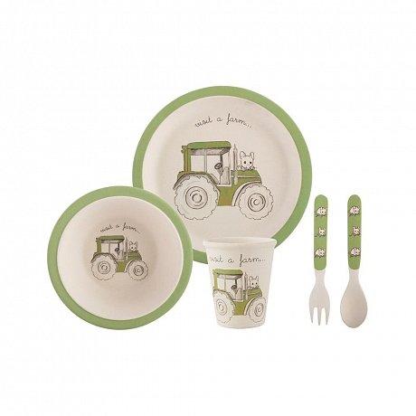 Bílozelený 5dílný dětský jídelní set z bambusového vlákna Creative Tops Tractor