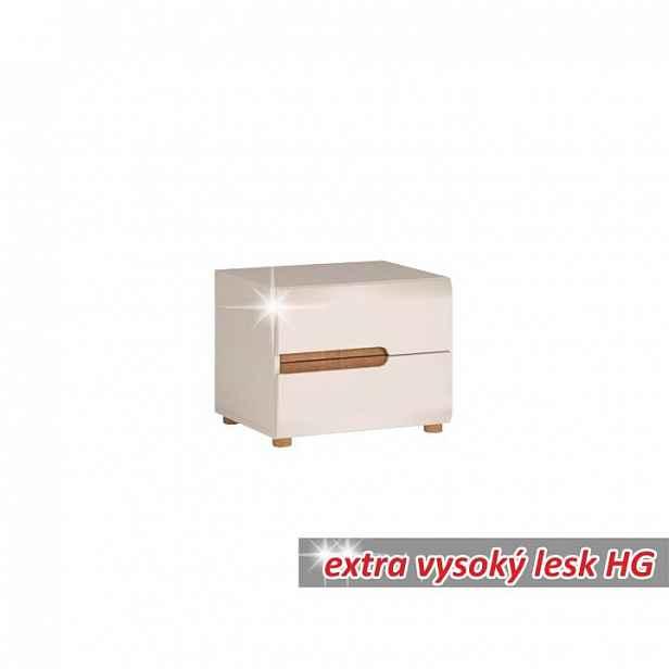 Noční stolek, bílá extra vysoký lesk HG / dub sonoma tmavý truflový, LYNATET TYP 96 0000042542 Tempo Kondela