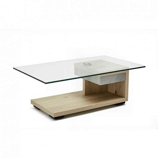 XXXLutz KONFERENČNÍ STOLEK, bílá, barvy ořechu, dřevo, kov, sklo, kompozitní dřevo, 110/65/40 cm Moderano - Konferenční stolky - 000112004208
