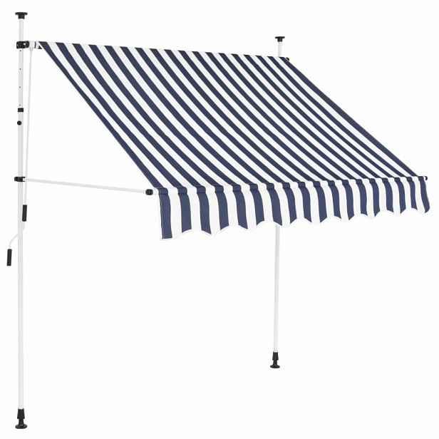 Zatahovací markýza 200x120 cm Dekorhome Bílá / modrá
