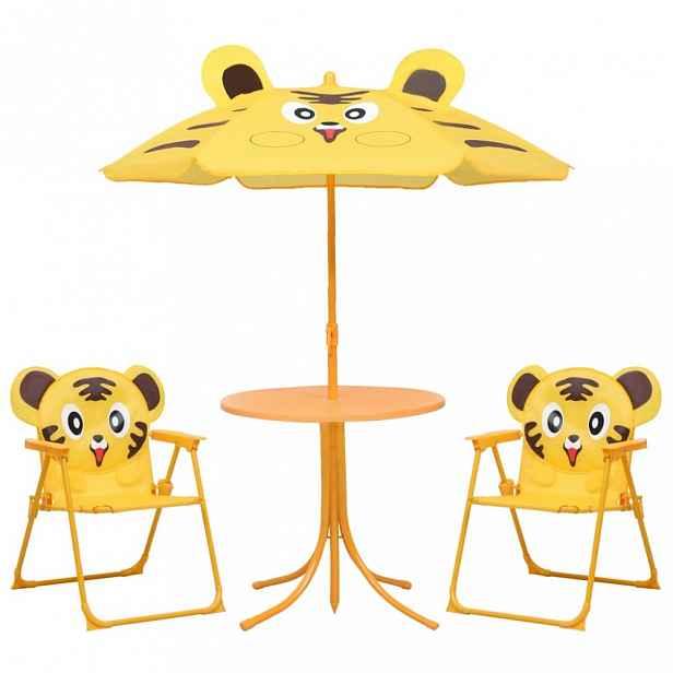 Dětský zahradní set se slunečníkem Dekorhome Žlutá