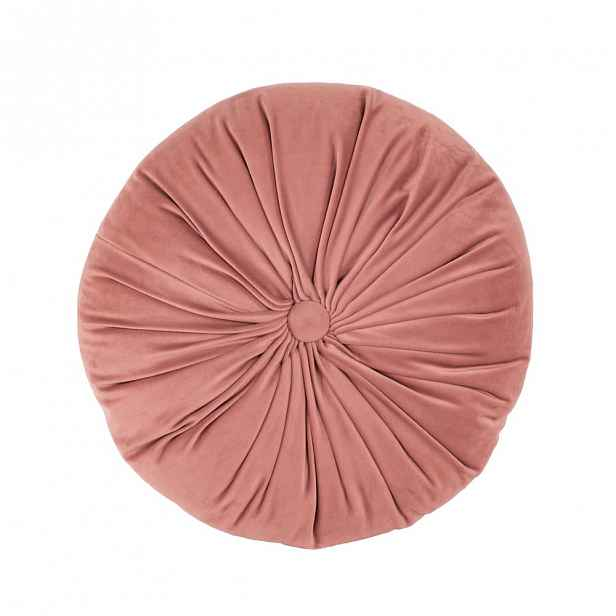 Růžový sametový dekorativní polštář Tiseco Home Studio Velvet,ø38cm